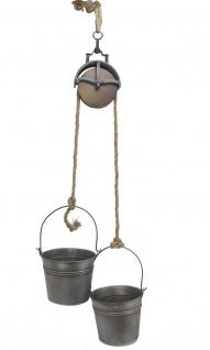 Metalleimer mit Umlenkrolle Deko Set Silber Grau MB27 Seil Dekoration Pflanztopf Pflanzen Blumentopf Kübel Seilwinde Wassereimer