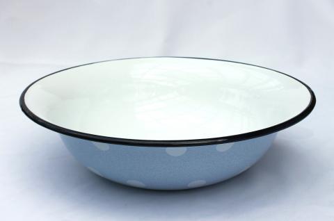 Schüssel 601/32 Hellblau mit weißen Punkten emailliert 32cm Teller Salatschüssel Emaille Waschschüssel - Vorschau 2