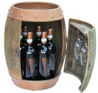 Weinregal Holz Weinfass Braun 44 cm 91361 Bar Flaschenregal Flaschenständer Klein Fass Holzfass