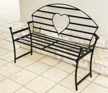 DanDiBo Gartenbank mit Herz aus Metall Schwarz Bank 122 cm Sitzbank Baumbank Eisen Garten