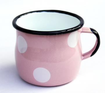 Emaille Tasse 501w/7 Rosa mit weißen Punkten Becher emailliert 7 cm Kaffeebecher Kaffeetasse