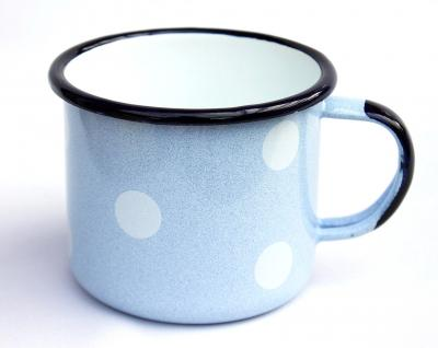 Emaille Tasse 501/10 Hellblau mit weißen Punkten Becher emailliert 10 cm Kaffeebecher Kaffeetasse - Vorschau 1
