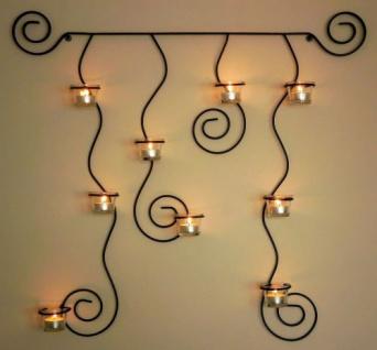 Wandteelichthalter Lysa Schwarz Wandkerzenhalter Metall 74cm Teelichthalter