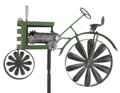 Gartenstecker Metall Traktor Trecker Grün MT85 Windspiel Windrad Wetterfest Gartendeko Garten Gartenstab Bodenstecker