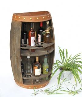 DanDiBo Weinregal Holz Weinfass Braun Halbrund 83 cm 9001-R Bar Flaschenregal Flaschenständer XL Fass Holzfass Weinschrank