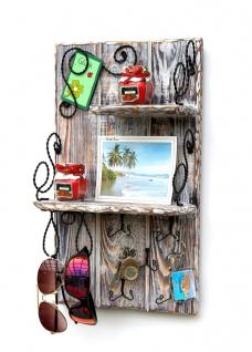 DanDiBo Wandorganizer Holz Weiß Vintage Schlüsselbrett mit Ablage 93909 Schlüsselboard Briefablage Schlüsselkasten Shabby Chic Memoboard Wandregal Schlüsselhaken - Vorschau 2