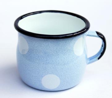Emaille Tasse 501w/7 Hellblau mit weißen Punkten Becher emailliert 7 cm Kaffeebecher Kaffeetasse