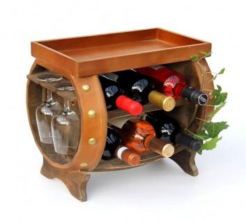 DanDiBo Weinregal Holz Weinfass Braun 33 cm 9064 Bar Flaschenregal Flaschenständer Klein Fass Holzfass mit Glashalter