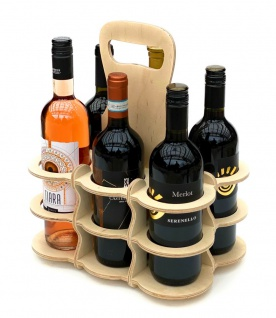 DanDiBo Weinträger Holz 6 Flaschen Flaschenträger 96143 Flaschentasche Weinkorb Weintasche