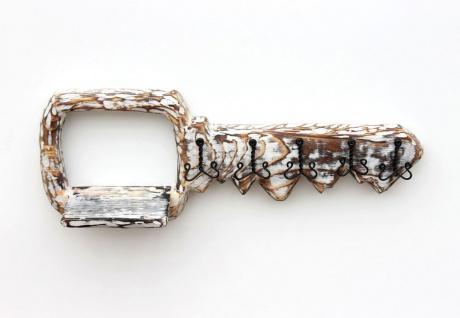DanDiBo Schlüsselbrett mit Ablage Holz Schlüsselboard Schlüsselhaken handgemacht 1101 Bügel Holzschlüssel - Vorschau 5