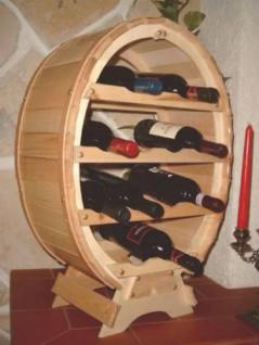 Weinregal Weinfass für 12 Flaschen Natur lackiert 65cm Flaschenhalter Flaschenregal Bar