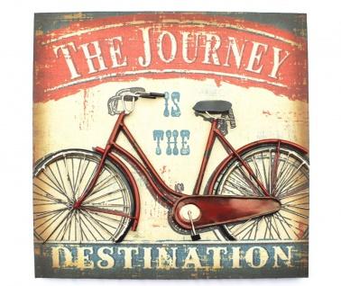 3D Bild Fahrrad Rot Wandbild 20859 49cm Objektbild Vintage Wandschild Metallbild