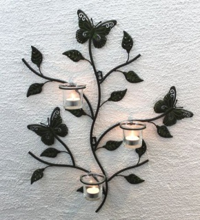 Wandteelichalter 12120 Teelichthalter aus Metall 62cm Wandleuchter Kerzenhalter