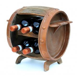 DanDiBo Weinregal Holz Weinfass Braun 33 cm 2110 Bar Flaschenregal Flaschenständer Klein Fass Holzfass mit Glashalter - Vorschau 3