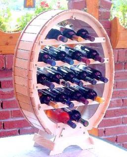Weinregal Weinfass für 18 Flaschen Natur Lackiert 77cm Flaschenhalter Flaschenregal Bar - Vorschau 3