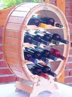 Weinregal Weinfass für 12 Flaschen Natur lackiert 65cm Flaschenhalter Flaschenregal Bar - Vorschau 3