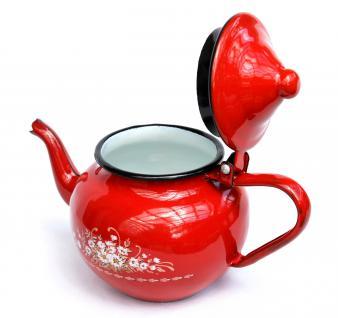 Teekanne BsB 83/07 Rot emailliert Wasserkanne Kanne Kaffeekanne Emaille Nostalgie - Vorschau 2