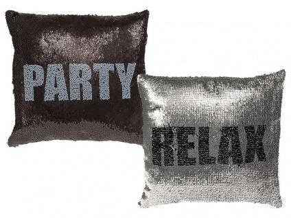 Pailletten Kissen Relax & Party Glitzer mit Füllung 40x40 cm 190312 Reisverschluss Dekokissen Zierkissen Geschenk Lustig Farbwechsel