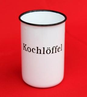 """Nostalgischer Kochlöffelhalter """" Kochlöffel"""" 51212 Weiß 11, 5 cm emailliert Landhaus Emaille Becher Metallbecher"""