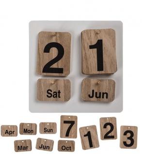 Dauerkalender aus Holz Wand Wandmontage 144276 Vintage Shabby Ewiger Mini Holzkalender Jahreskalender