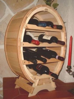Weinregal Weinfass für 12 Flaschen Natur lackiert 65cm Flaschenhalter Flaschenregal Bar Fassform