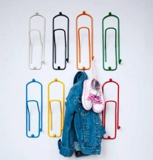 "Designer Kleiderhaken "" Büroklammer"" 1 Stk. Garderobe Wandhaken Haken 32"