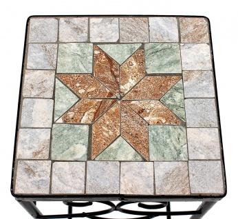Blumenhocker Mosaik Eckig 3er Set 53, 60 , 67 cm Blumenständer 17831 Beistelltisch Pflanzenständer Mosaiktisch - Vorschau 4