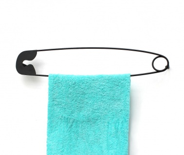 DanDiBo Design Handtuchhalter Handtuchstange Sicherheitsnadel 62 cm Garderobe Wand Büro Schwarz Metall Flur DIY