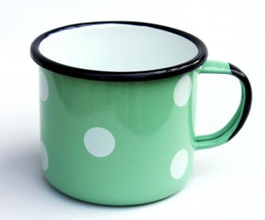 Emaille Tasse 501/10 Hellgrün mit weißen Punkten Becher emailliert 10 cm Kaffeebecher Kaffeetasse