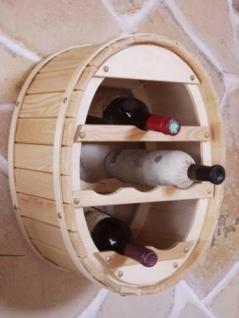 DanDiBo Weinregal Holz Wand Weinfass für 6 Flaschen Natur lackiert für die Wandmontage Wandregal zum aufhängen Flaschenregal