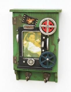 Schlüsselkasten mit Bilderrahmen 23630 Grün Schlüsselkästchen 31 cm Schrank