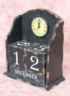 Uhr mit Kalender 14B142 Schwarz Shabby Kaminuhr Standuhr 25cm Vintage Quarzuhr