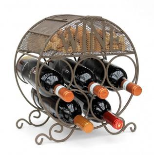 Weinregal Metall Korkenbehälter Rund Freistehend Klein Flaschenregal 83131 Weinschrank Flaschenständer
