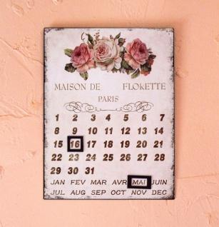 Dauerkalender Wand Metall 84643 Blechschild Kalender Wandschild Wandbild Blumen Nostalgie Rosen