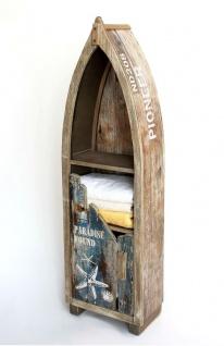 Regal Boot Bootsform Holz Massiv Antik MR16 Maritim Badregal Badschrank Braun Regal