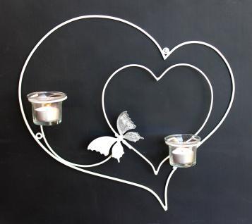 Wandleuchter Herz 39cm Weiß Teelichthalter aus Metall Wandteelichthalter Kerzenhalter