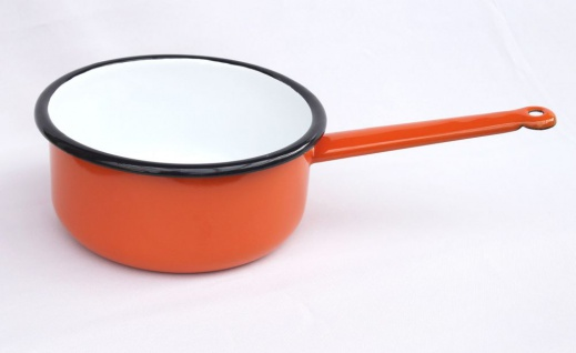 Kochtopf 2 L Topf mit Griff 515/18 Orange emailliert Emaille Kasserole Emailtopf Email