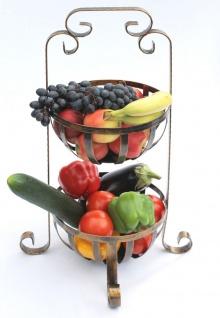 Etagere Obstkorb 10-320 Gemüsekorb 62cm Küchenregal mit 2 Körbe Obstschale Korb