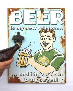 Wandbild Beer mit Flaschenöffner 40cm Bieröffner 21261 Blau Wandflaschenöffner Öffner