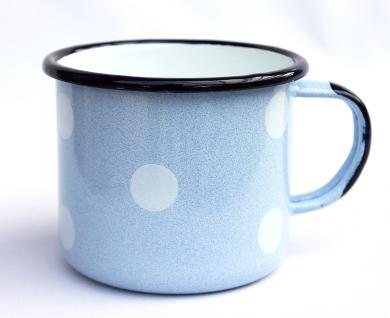 Emaille Tasse 501/10 Hellblau mit weißen Punkten Becher emailliert 10 cm Kaffeebecher Kaffeetasse - Vorschau 2