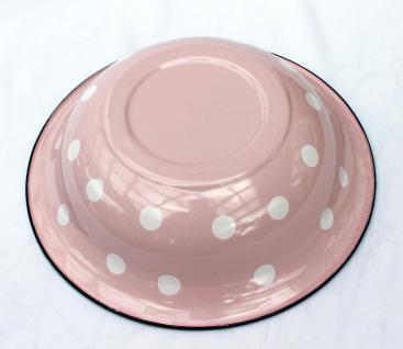 Schüssel 601/32 Rosa mit weißen Punkten emailliert 32cm Teller Salatschüssel Emaille Waschschüssel - Vorschau 4