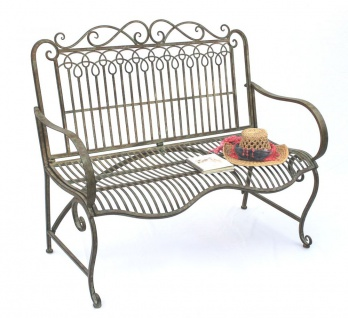 DanDiBo Gartenbank Metall Wetterfest Patina Grün 110 cm 2 Sitzer Sitzbank JC150014 Parkbank Eisen Garten