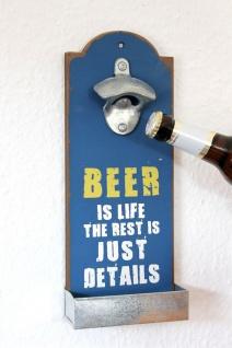 """Wandflaschenöffner mit Kronkorkenbehälter 20003 Blau """" Beer is life"""" Bieröffner 32cm Flaschenöffner"""