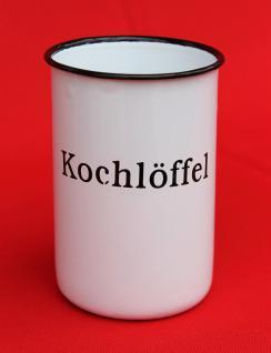 """Nostalgischer Kochlöffelhalter """"Kochlöffel"""" 51212 Weiß 11, 5 cm emailliert Landhaus Emaille Becher Metallbecher - Vorschau 2"""