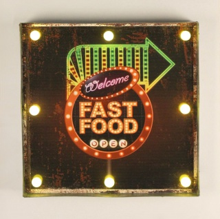 Leuchtschild 237681 FAST FOOD Wandschild LED Schild aus Metall 40 cm Display