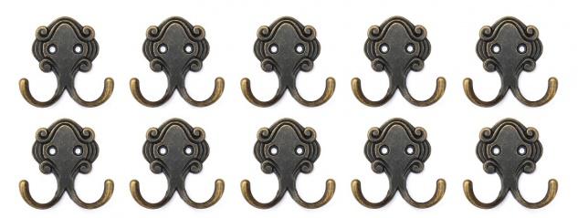 DanDIBo 10x Wandhaken Kleiderhaken 5, 2 cm aus Metall Messing Haken Garderobenhaken