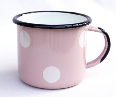 Emaille Tasse 501/8 Rosa mit weißen Punkten Becher emailliert 8 cm Kaffeebecher Kaffeetasse Teetasse - Vorschau 2