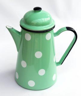 Kaffeekanne 578TB Hellgrün mit weißen Punkten emailliert 22cm Wasserkanne Kanne Emaille Teekanne