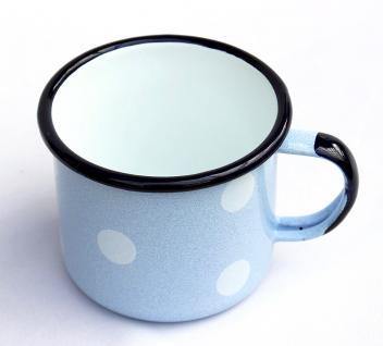 Emaille Tasse 501/10 Hellblau mit weißen Punkten Becher emailliert 10 cm Kaffeebecher Kaffeetasse - Vorschau 4