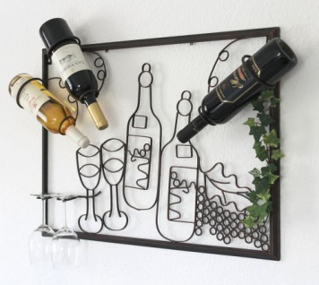 Wandbild Weinregal 091975 Flaschenständer Metall 70cm Flaschenhalter Wandregal